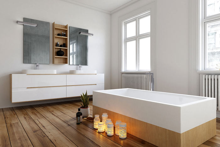 holzboden im badezimmer tipps und auswahl wohn journal. Black Bedroom Furniture Sets. Home Design Ideas